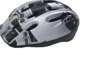 Baby Mix biztonsági Sisak 52-55cm #fekete-fehér-szürke 31420656 Biciklis védőfelszerelés, kiegészítő
