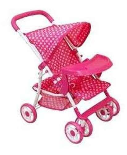 Baby Mix játék Babakocsi tálcával - Pöttyös #rózsaszín