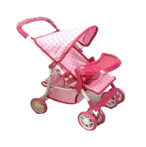 Baby Mix játék Babakocsi tálcával #rózsaszín-fehér