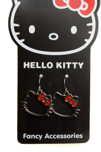Hello Kitty Fülbevalók – vörös masnis