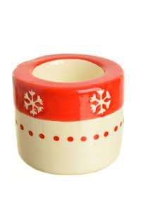 Piros, fehér, hópihés mécsestartó 31430166 Gyertya, tortadísz