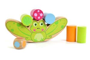 Jouéco békás, fa egyensúly játék 16cm, 20db 31431616 Fejlesztő játék ovisoknak
