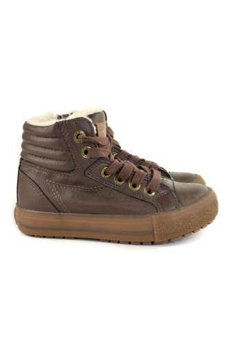 Okaidi szőrmés fiú Magasszárú cipő #barna