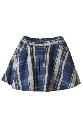 Boboli kék kockás, pamut lány szoknya – 128