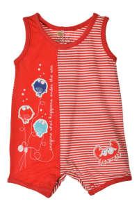 Boboli piros, fehér csíkos, ujjatlan baba napozó 31439419 Rugdalózó, napozó