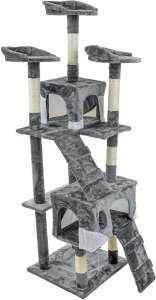 Funfit XXL 5 szintes macska szórakoztató központ és Kaparófa #szürke 31441000 Bútor, kaparófa, ágy kisállatoknak
