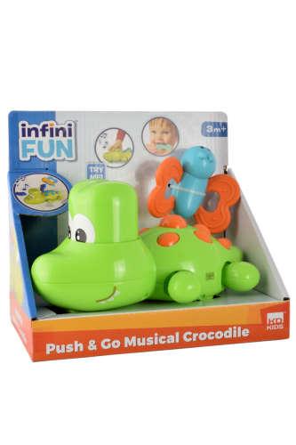 Mozgó, zenélő krokodil játék 20cm