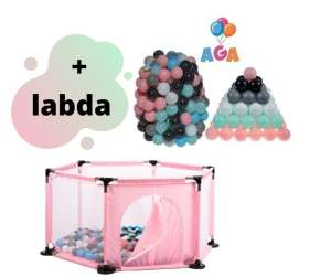 Aga Play&Fun Járóka lecipzározható oldallal + labda #rózsaszín