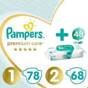 Pampers Premium Care S1+S2 Box Pelenka + Aqua Pure Törlőkendő (48db) 31445826 Pelenka