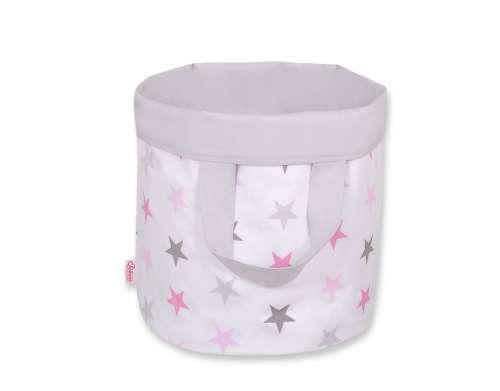 BabyLion Prémium Kifordítható Játéktároló - L - Csillagok #szürke-rózsaszín
