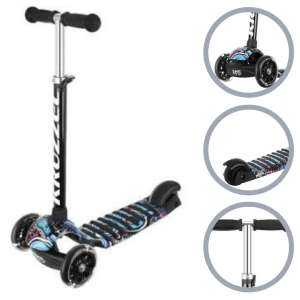 Kruzzel Rapid B háromkerekű Roller világító kerékkel #fekete-kék