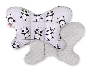 BabyLion Prémium Minky pillangó Párna - Pandák #szürke 31447360 Nyakpárna