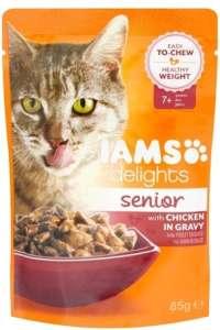 IAMS Cat Delights Senior – Csirke falatkák ízletes szószban (24 x 85 g) 2.04kg 31447488 Macskaeledel