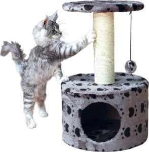 Trixie Toledo tappancs mintás kaparófa és fekhely szőrlabdával kiscicáknak (Szürke | 61 cm | Talapzat: ø 39 cm | Oszlop: ø 9 cm)