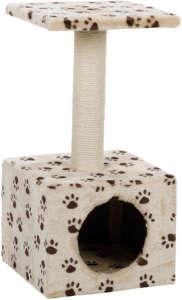 Trixie tappancsmintás Zamora kaparófa kocka odúval és négyzetes fekhellyel (31 x 31 cm | Magasság: 60 cm | ø 8 cm)