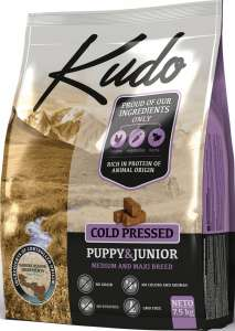 Kudo Puppy & Junior - hidegen sajtolt kölyök kutyatáp 7,5 kg (3 x 2,5 kg) 31477700 Kutyaeledel