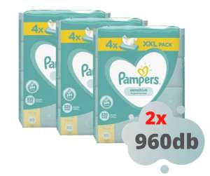 2 x Pampers Sensitive XXL Törlőkendő 12x80db