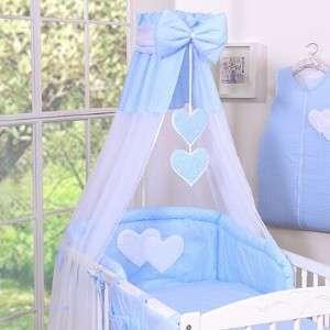 BabyLion Prémium Baldachin #Kék - fehér pöttyös és Szivecskés