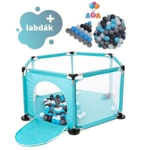 Aga Play&Fun Járóka lecipzározható oldallal + labda #menta-kék