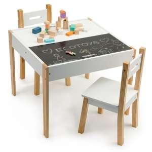 Ecotoys többfunkciós fa gyermek Asztal krétatáblával + székek #fehér