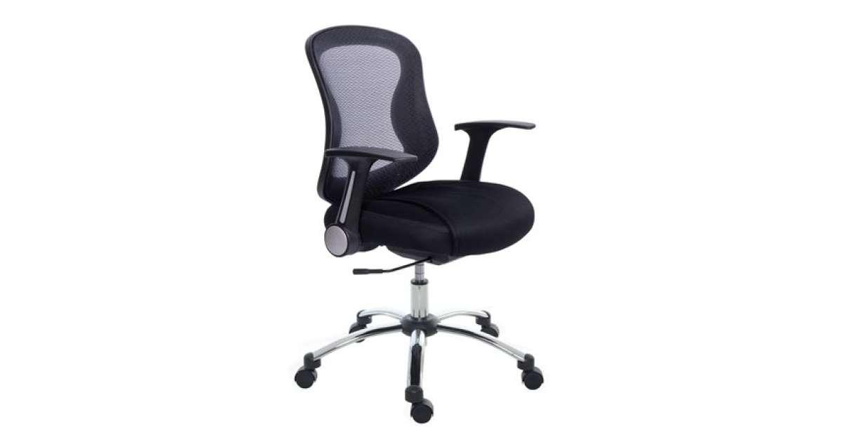 MAYAH Irodai szék, karfás, fekete szövetborítás, feszített hálós háttámla, króm lábkereszt, MAYAH