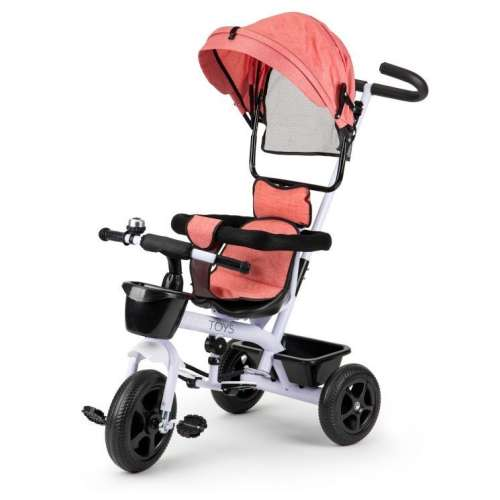 Ecotoys acélvázas Tricikli kosárral és csengővel #rózsaszín