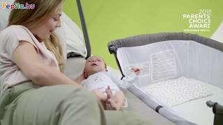 Kinderkraft Uno 2in1 szülői ágyhoz csatlakoztatható Kiságy fém vázzal #szürke